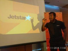 Chief Executive Officer (CEO) Jetstar Asia, Barathan Pasupathi usai memberikan keterangan pers di Hotel Cambridge, Medan, Rabu (7/11/2018). (Akses.co/din)